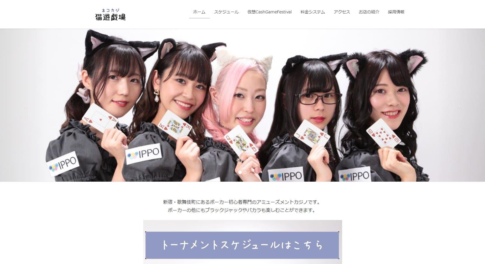 猫遊技場ネコカジウェブサイト画像。