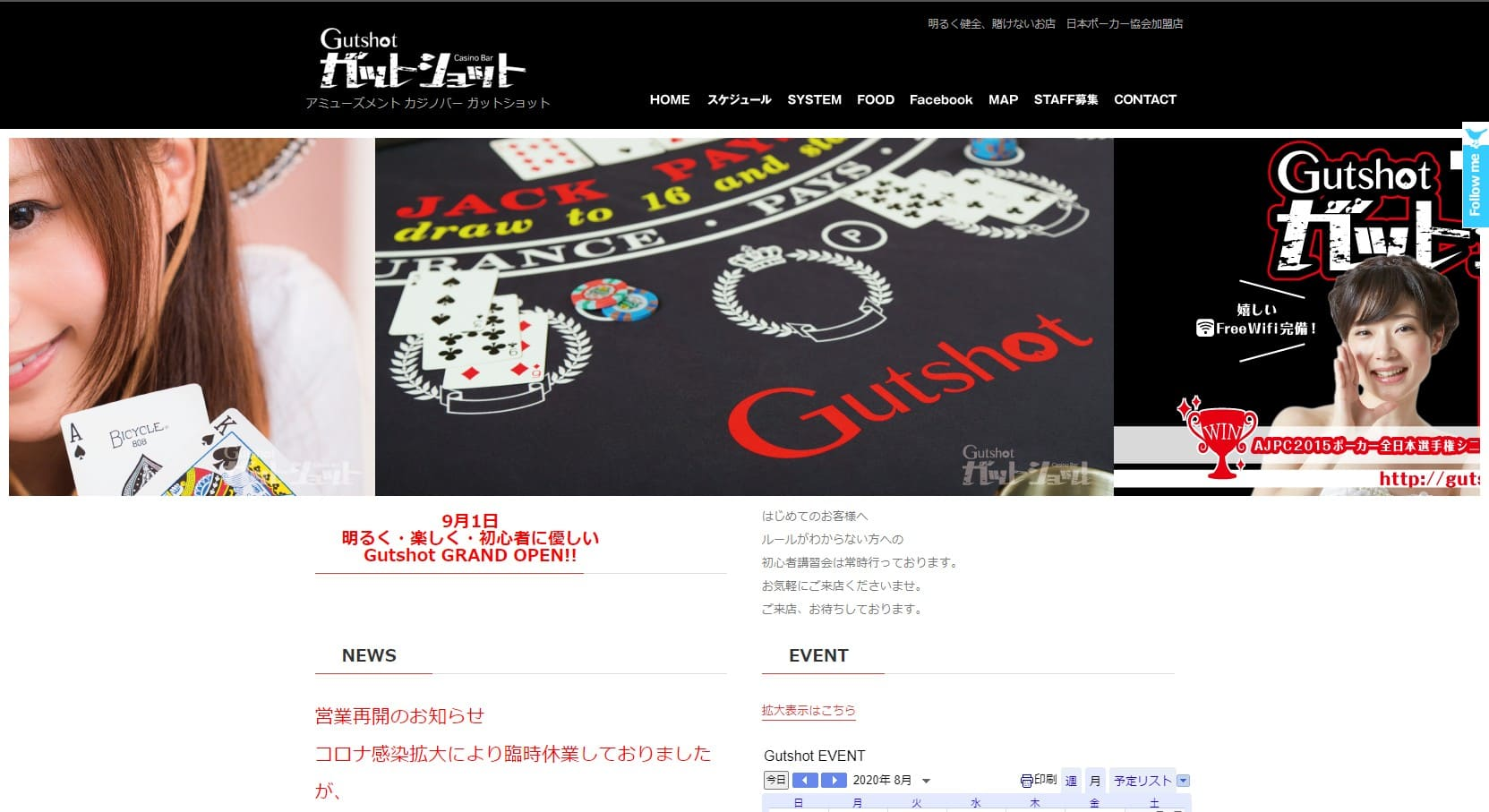 ガットショットのウェブサイト画像。
